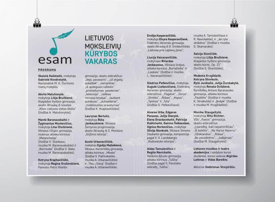 Moksleivių kūrybos vakaro ESAM programa.