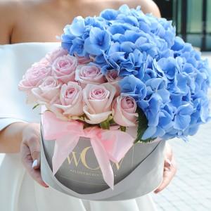 Rausvos rožės su hortenzija WOW geles internetu